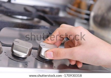 Gas stove in a kitchen - stock photo