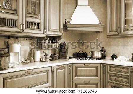 Gas stove on modern and beautiful kitchen - stock photo