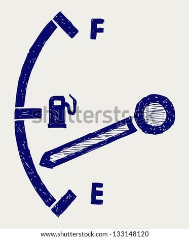 Gas tank illustration. Doodle style. Raster version - stock photo