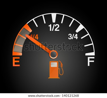 gas tank with empty and full signs - stock photo