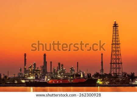 Gas Tanker Ship Refinery plant area in the morning ,Thailand  - stock photo