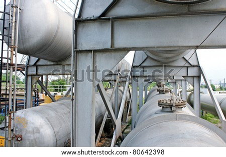 gas tanks in the industrial estate, suspension energy for transportation and household use - stock photo