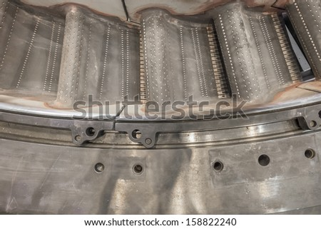 gas turbine compartment, shop overhaul - stock photo