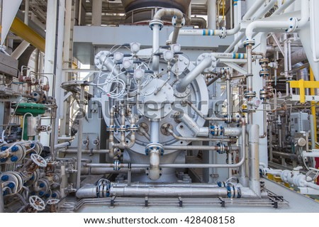 Gas turbine compressor,Radial type of gas compressor and piping, instrument tubing used in oil and gas industry.  - stock photo