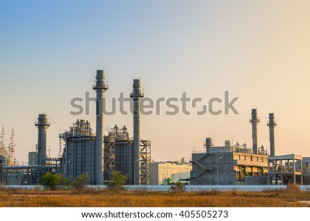 Gas turbine electrical power plant with evening sky