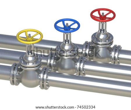 gas, water, oil steel pipelines with valve isolated on white - 3D illustration - stock photo