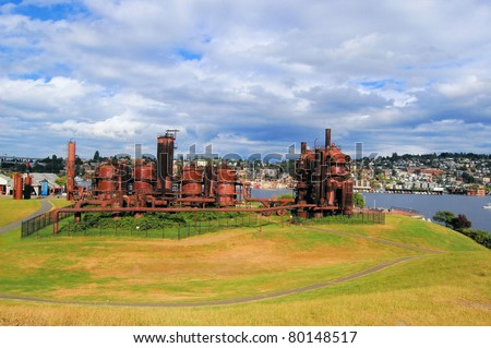 Gas Works Park in a Cloudy Day, Seattle - stock photo