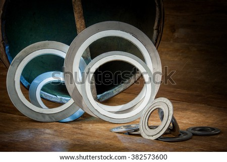 Gasket, mechanical seal which fills the space between two or blackberries mating surfaces, to prevent leakage of objects while under compression - stock photo