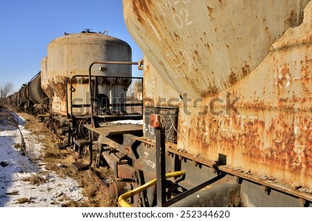 gasket railway tanks obsolete , left to rust - stock photo
