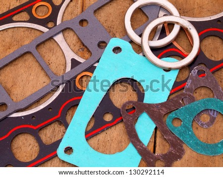 gaskets for engine repair - stock photo