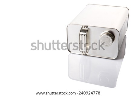 Gasoline can over white background