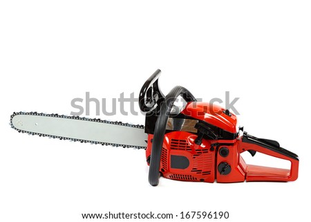 Gasoline chain saw isolated on a white background. - stock photo