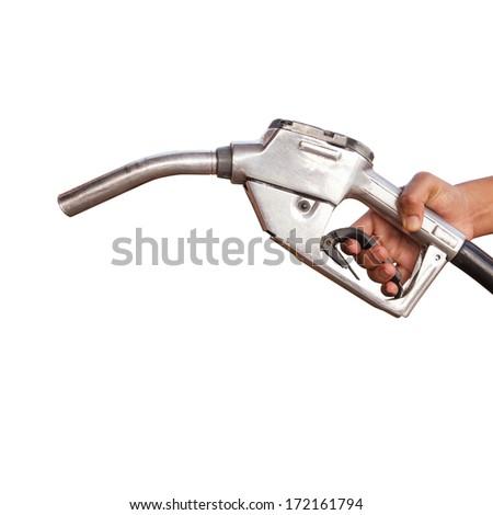 Gasoline fuel on white background - stock photo