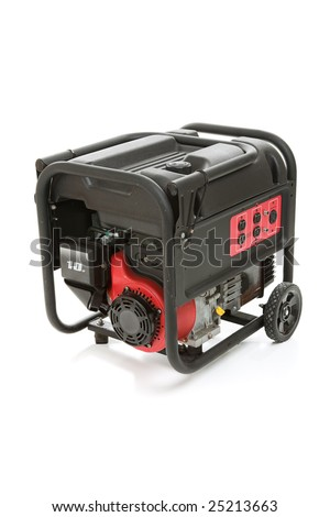 Gasoline powered, ten horsepower, emergency electric generator isolated on white background.