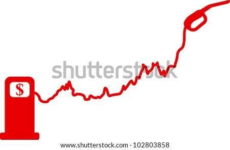Gasoline price growth graph - stock photo