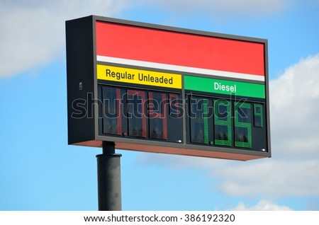Gasoline price sign at local station Georgia, USA.