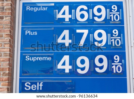 Gasoline prices reaching record levels - stock photo