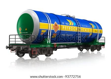 Gasoline railroad tank car isolated on white reflective background - stock photo