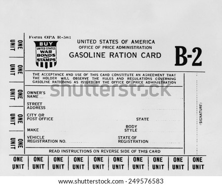 Gasoline ration card B2 for American workers who needed extra gasoline during World War 2. There were A, B1, B2, and B3 cards issued by rationing authorities from 1942-1945.