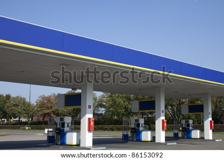 gasstation with bue sky - stock photo