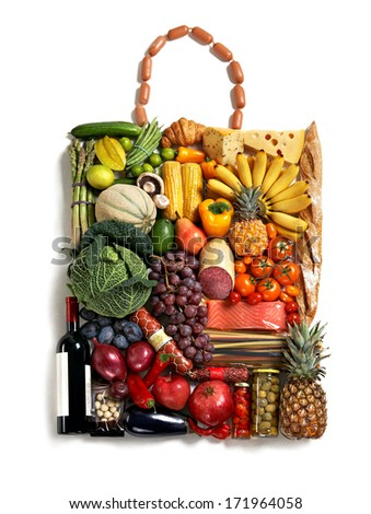 Gastronomy handbag / studio photography of designer handbag made from different fruits and vegetables - on white background  - stock photo