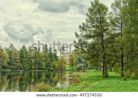 Gatchina, Leningrad oblast (Saint Petersburg suburbs), Russia. The shore of the Silver lake and the Great Palace.