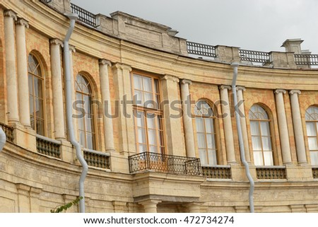 GATCHINA, RUSSIA - 6 AUGUST 2016: Big Gatchina Palace was built in the years 1766-1781 in Gatchina designed by Antonio Rinaldi for the favorite of Catherine II, Count Grigory Orlov.