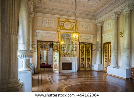 GATCHINA, SAINT-PETERSBURG, RUSSIA -MAY 14, 2016:Marble Dining Room. Interior. Gatchina Grand Palace.