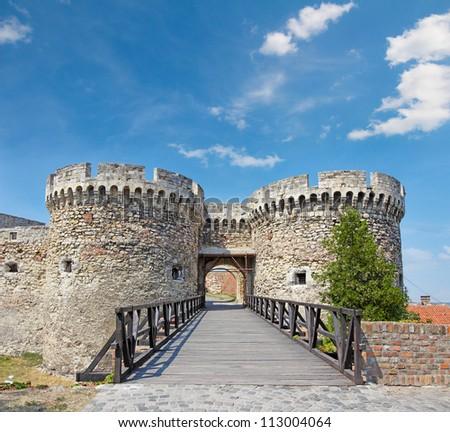 Gate and bridge, Kalemegdan fortress in Belgrade, Serbia - stock photo
