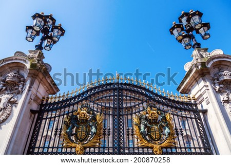 gate at Buckingham Palace in London - stock photo