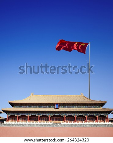 gate building of forbidden city,beijing China - stock photo