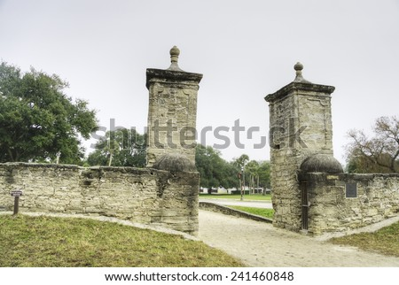 Gate in Historic St. Augustine, Florida. - stock photo