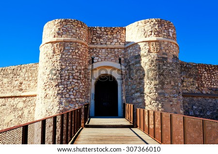 Gate of castle of Chinchilla. Chinchilla de Monte-Aragon, province of Albacete, Spain - stock photo