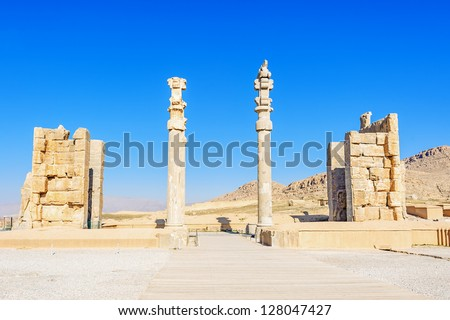 Gate of nations at Persepolis in north of Shiraz, Iran. Persepolis has led to its designation as a UNESCO World Heritage Site.