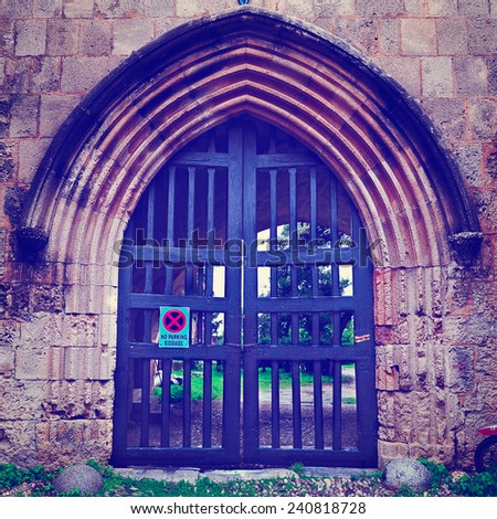 Gate of  Orthodox Monastery on the Greek Island of Rhodes, Instagram Effect - stock photo