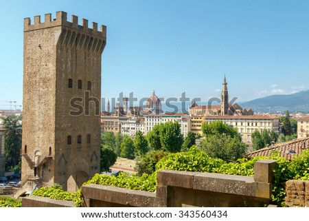 Gate of St. Nicholas. Residue of the old fortress wall around Florence. - stock photo