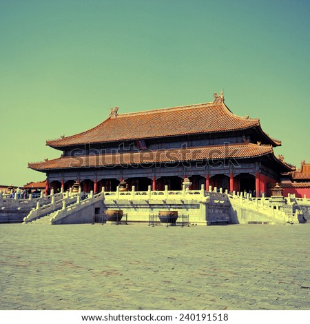 Gate of Supreme Harmony, Forbidden city, Beijing, China. instagram effect, square toned image - stock photo