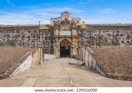 Gate of the Our Lady of Grace Fort in Elvas (Portugal) - stock photo