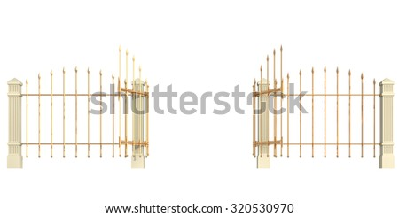 gate on a white background - stock photo