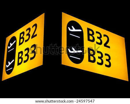 Gate signs at the airport - stock photo