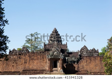 Gate to Banteay Srei Temple at the morning. Angkor. Cambodia