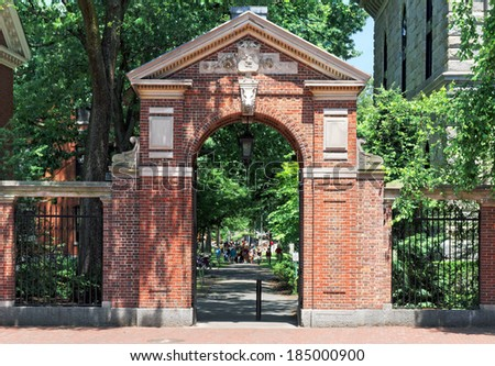 Gate to Harvard Yard - stock photo