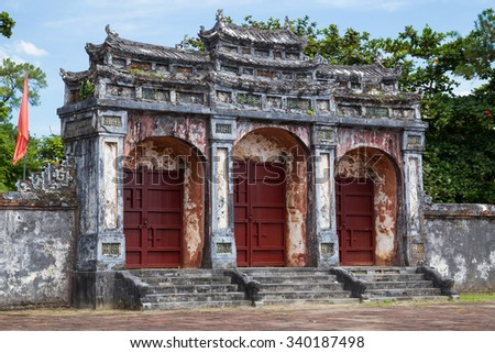 Gate to Imperial Minh Mang Tomb in Hue, Vietnam - stock photo