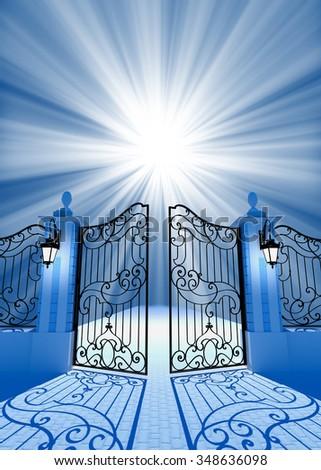Gate to light - stock photo