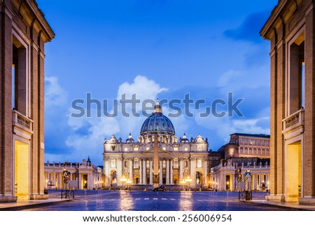 Gate to St. Peter Basilica in the Vatican of Rome, Italy. Landscape Format - stock photo