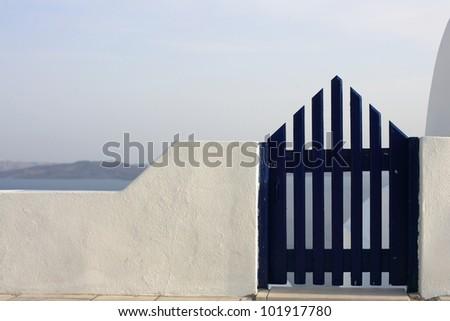 Gate to the sea - Santorini island - stock photo