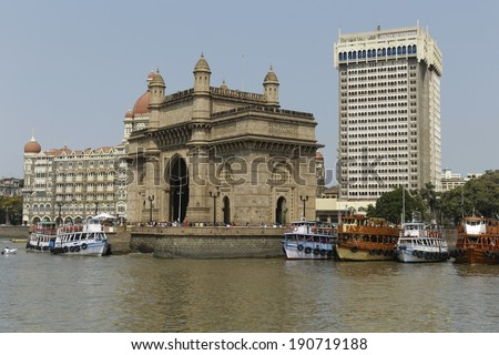 Gate way of India and hotel Taj Mahal Palace in Mumbai ( formerly Bombay) view from sea, India, Asia - stock photo