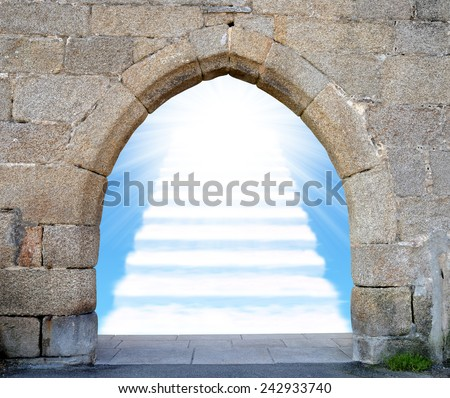 Gate with stairway to heaven  - stock photo