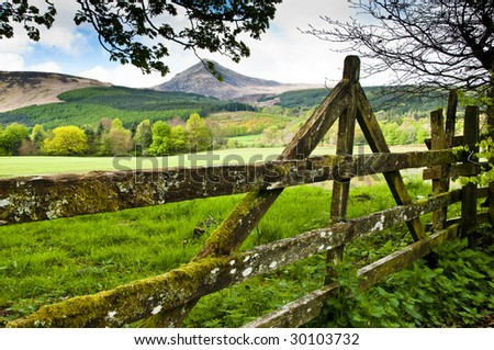 Gate with view to Goatfell on the Isle of Arren - stock photo