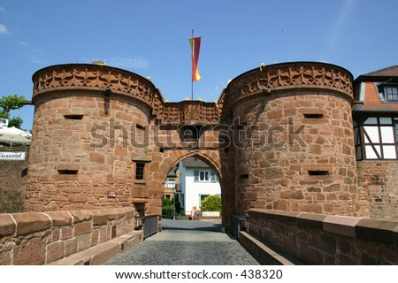 Gate with watchtowers leading into Buedingen Castle, Hesse, Germany